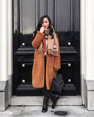 coat tumblr brown coat teddy bear coat scarf bag black bag boots black boots winter outfits