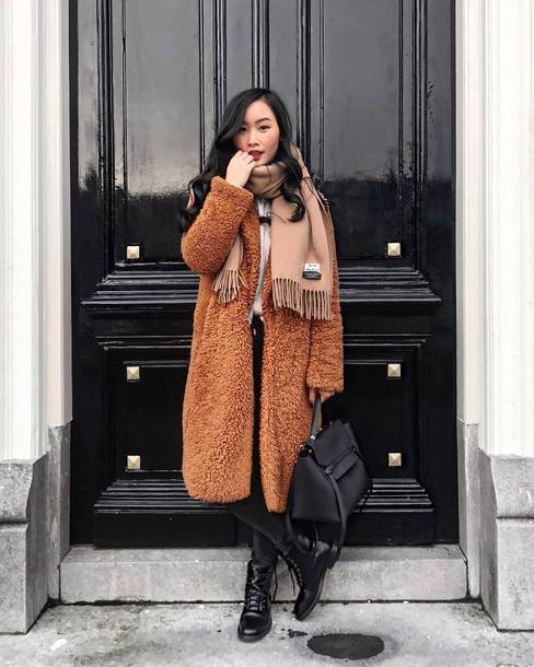 coat tumblr brown coat teddy bear coat scarf bag black bag boots black boots winter outfits