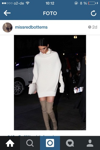 kendall jenner sweater dress thigh high boots