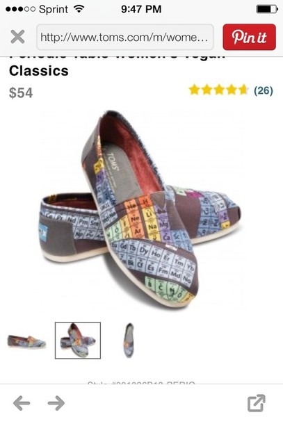 Shoes toms periodic table of elements design size 6 womans like follow urtaz Images