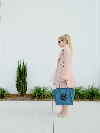 fash boulevard blogger coat dress shoes bag baby pink pink coat pastel blue bag classy
