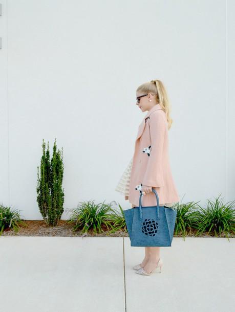 fash boulevard blogger coat dress shoes bag baby pink pink coat pastel blue bag classy