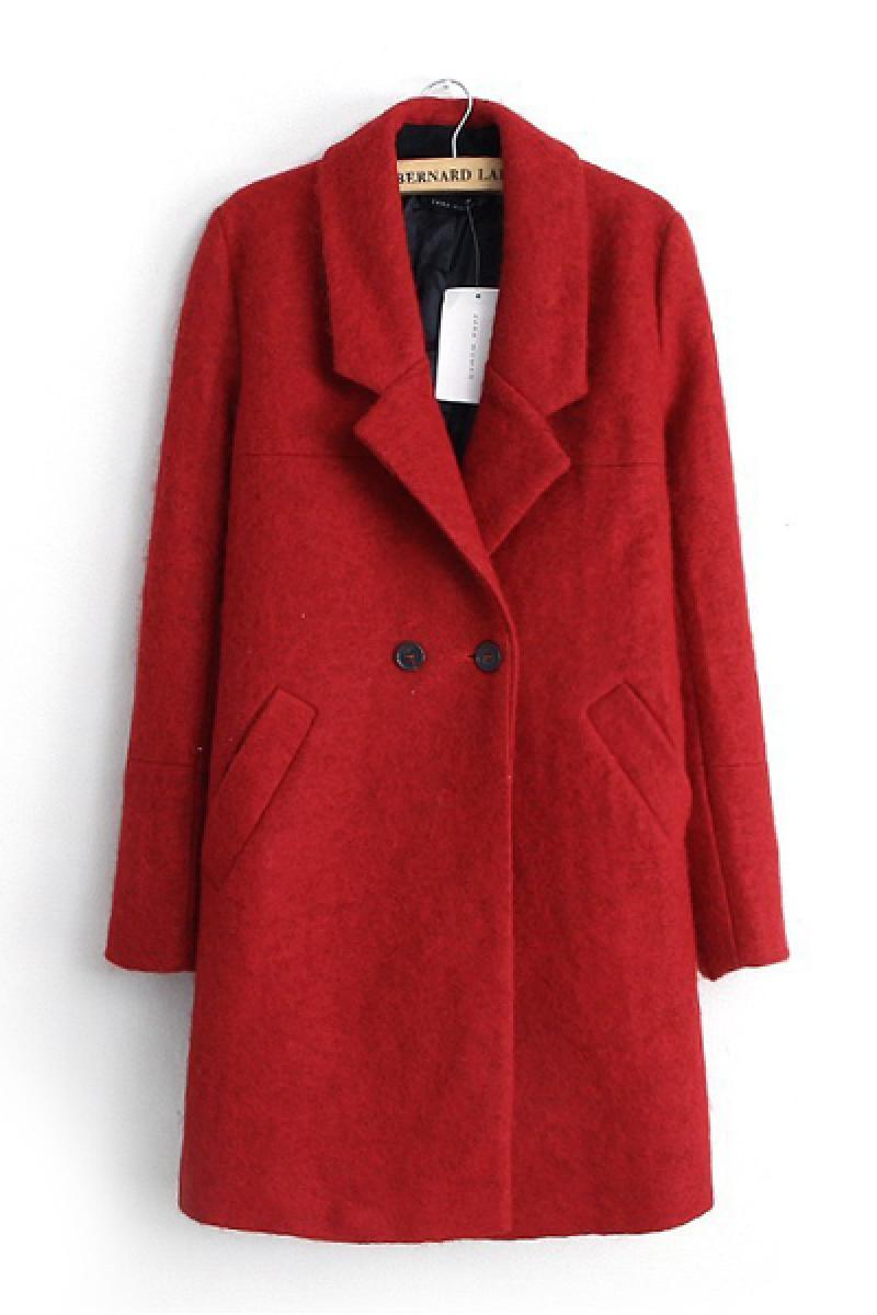 Autumn & Winter New Section Lapel Slim Single Button Woolen Overcoat,Cheap in Wendybox.com