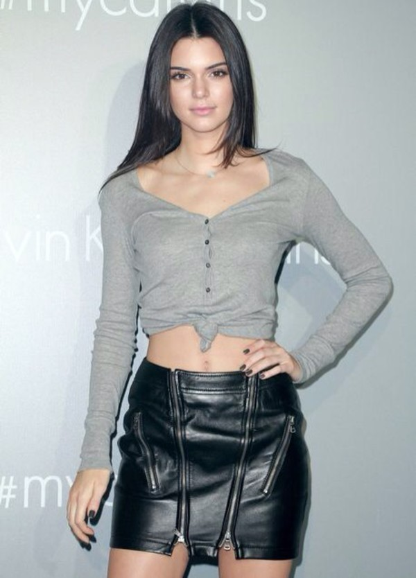 Skirt: kendall jenner, leather, black, calvin klein, shirt ...