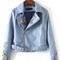 Blue bird embroidery zipper pu jacket with belt -shein(sheinside)