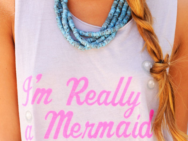 shirt white pink mermaid shirt blue necklace