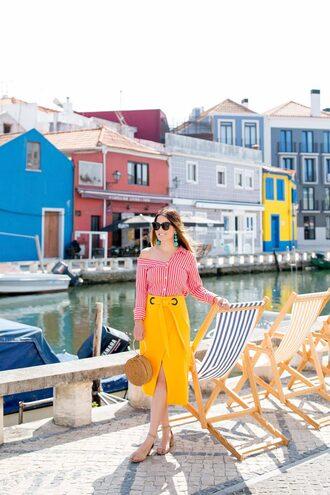 skirt midi skirt wrap skirt striped top sandals round bag basket bag blogger blogger style off the shoulder top