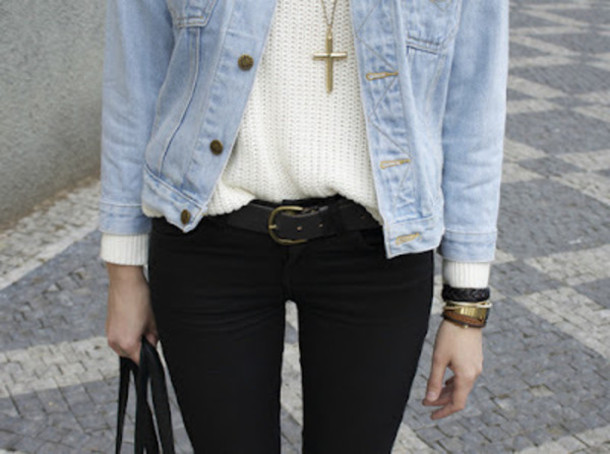 d2d37b83e2bb7 jacket black pants denim jacket white blouse cross necklace gold jewelry  sweater blouse jeans belt black
