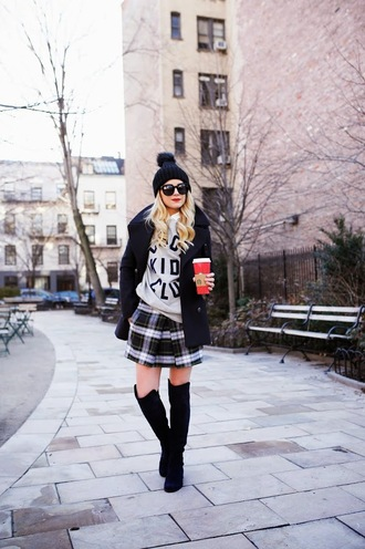 atlantic pacific blogger sunglasses winter outfits pom pom beanie plaid skirt knee high boots sweater skirt shoes jacket