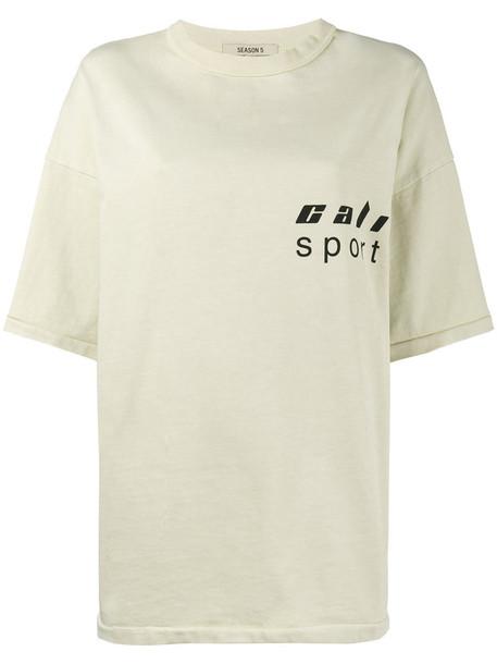 Yeezy - Beige loose fit logo t shirt - women - Cotton - L, Nude/Neutrals, Cotton