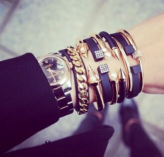 jewels bracelets jewelry stacked bracelets black gold gold bracelet arm candy arm party bracelet stack edgy cool
