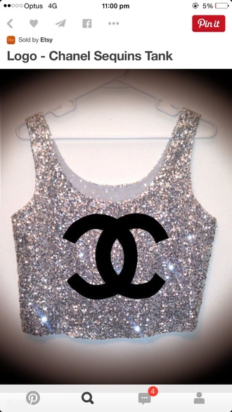 tank top sequins chanel t-shirt