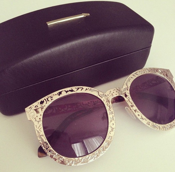 gold cute cool sunglasses round purple tint