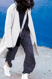 the fancy pants report,blogger,pants,sweater,bag,coat,shoes,fall outfits,cross,white boots,polka dots