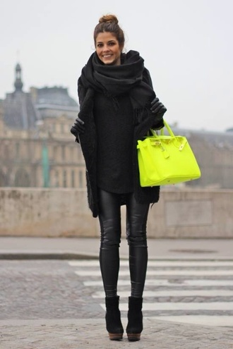 bag coat shoes scarf neongreenbag jacket pants neon duffle accessories