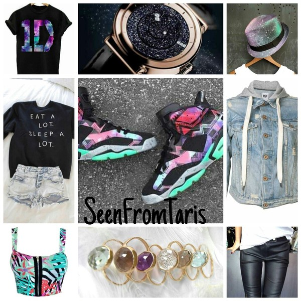 shoes jordans kicks chicks in kicks kicks with chicks tomboy crop tops hat seenfromtaris iconik galaxy print iconik fashion jacket sweater jewels shirt top hat