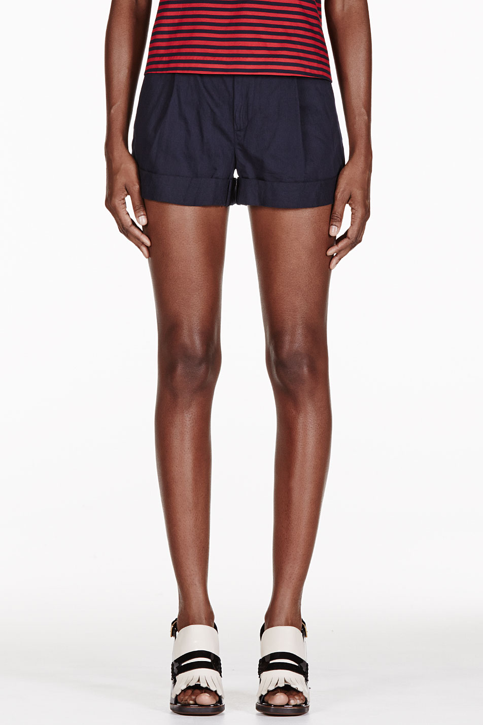 band of outsiders navy rolled cuff shorts