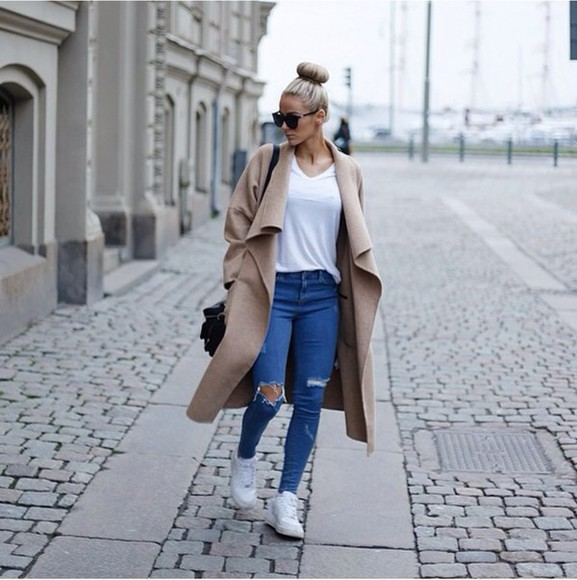 beige coat girly
