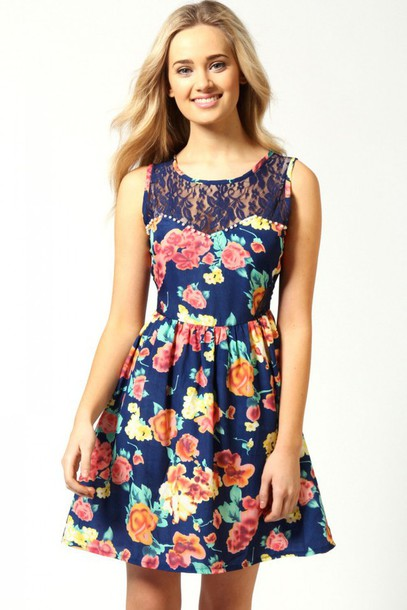 dress, floral, floral dress, flowers, blue dress, lace ...