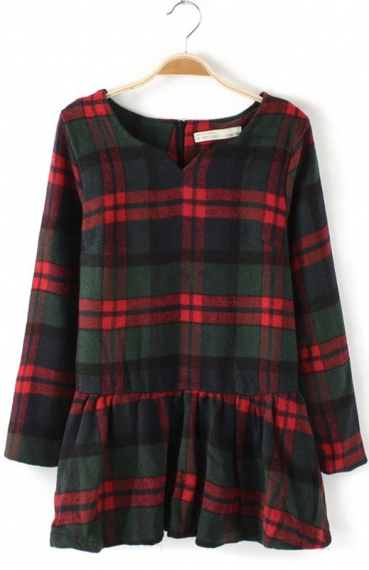 Plaid Print Wool Dress