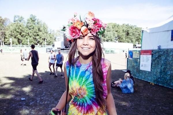 tank top watercolour tie dye hipster indie hippie trendy colorful rainbow art fashion festival flower crown t-shirt