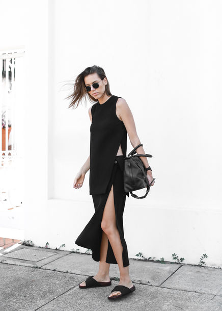 modern legacy blogger all black everything slit skirt slit birkenstocks slit top top skirt shoes bag sunglasses jewels slide shoes maxi dress slit dress open sides black slides