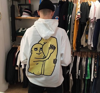 sweater pull butt white yellow draw menswear mens t-shirt guys