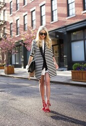 shoes,aquazzura,Aquazzura sandals,sandals,high heel sandals,red sandals,Red suede sandals,red high heel sandals,coat,spring coat,striped coat,bag,black bag,brooklyn blonde,blogger,sunglasses,spring outfits,black sunglasses
