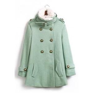 Dream in mint fur trim collar corduroy coat in mint green