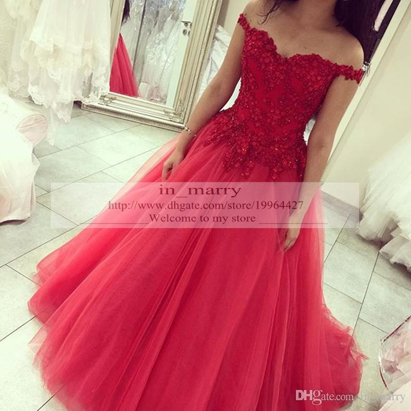 Charming Red Vintage Lace Plus Size Prom Dresses 2016 A Line Off Shoulder Tulle Skirt Up