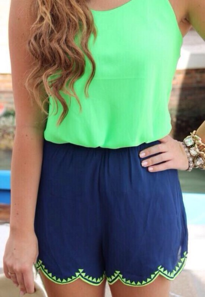navy scalloped romper shorts tank top blouse gloves hair accessory hat jumpsuit green blue lace summer spring colorful girly warm shirt
