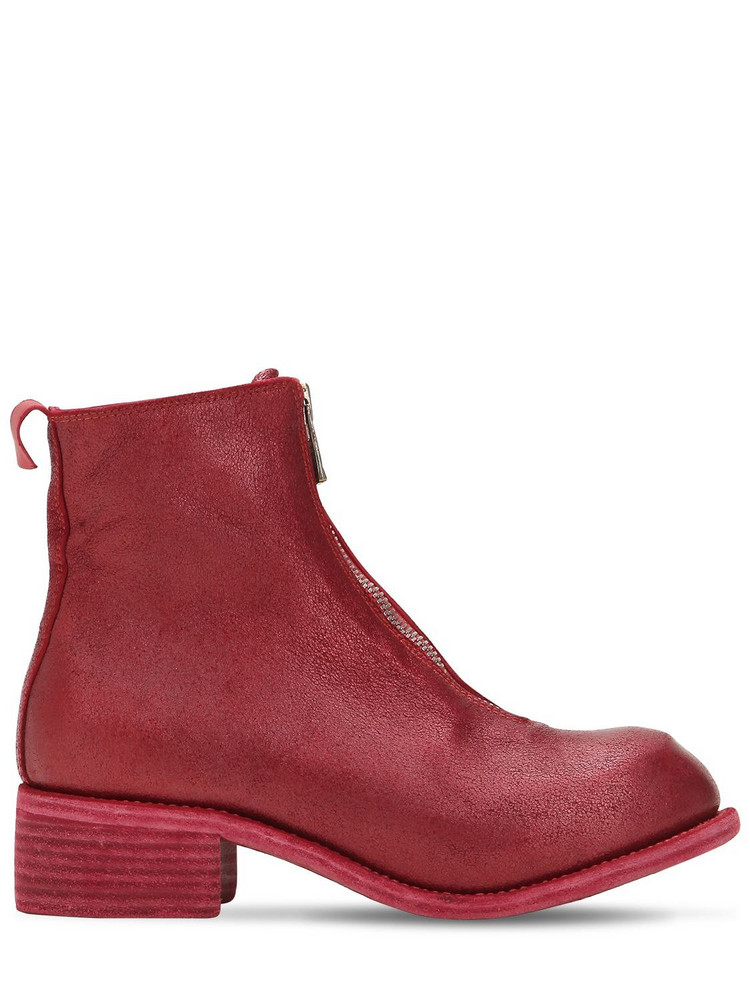 GUIDI Zip-up Leather Ankle Boots in red