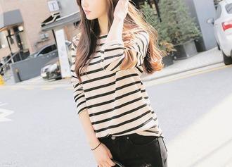 t-shirt striped shirt black and white kfashion korean fashion asian