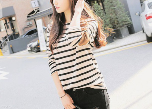 t-shirt striped shirt black and white kfashion korean fashion asian