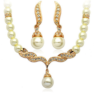 Wedding Bridal Jewellery Set Gold & White Pearl Necklace Studs Earrings S113G   Amazing Shoes UK