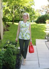 fabulousafter40,blogger,top,jeans,shoes,jewels,bag,sunglasses,handbag,red bag,summer outfits,sleeveless top