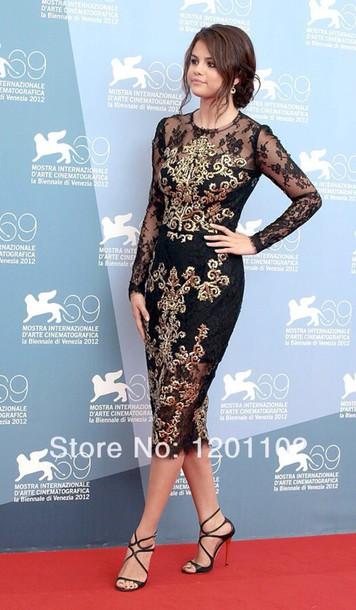 dress black dress midi dress gol detailing long sleeves elegant smart
