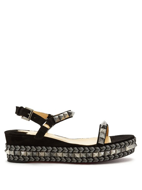christian louboutin espadrilles silver black shoes