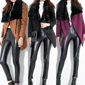 Women faux leather combined real rabbit fur turn