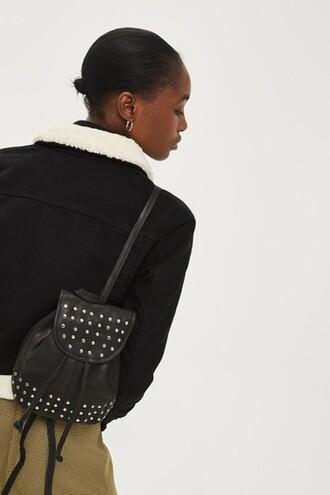 mini studded backpack mini backpack leather black bag