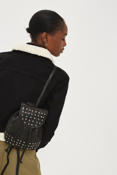 Topshop mini studded backpack mini backpack leather black bag