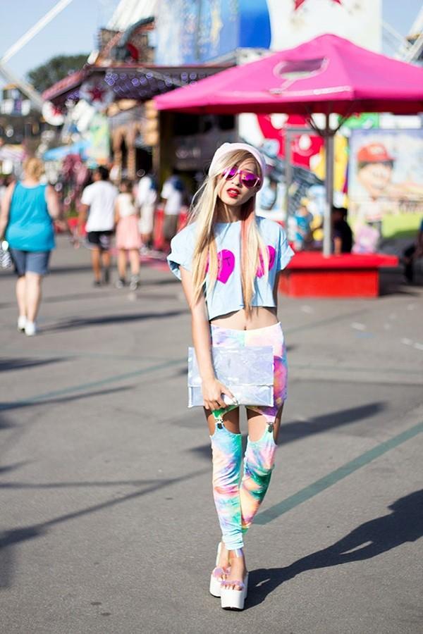 pants tie dye grunge hippie hippie sunglasses pastel goth platform shoes