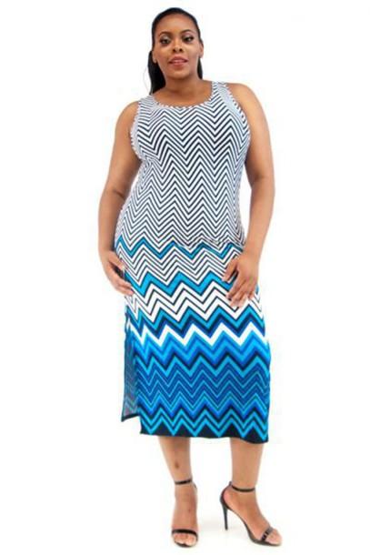 Dress Maxi Dress Maxi Chevron Print Plus Size Slit Dress Plus