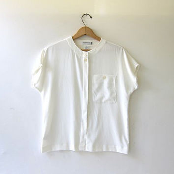 90s white short sleeve blouse. Liz Claiborne sheer shirt. cap sleeves. on Wanelo
