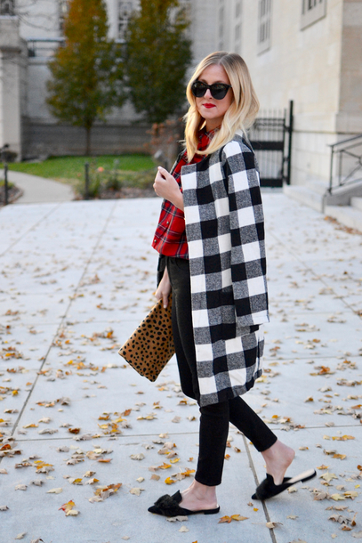 out+outfit blogger jacket pants bag winter outfits fall outfits clutch plaid coat loafers red shirt