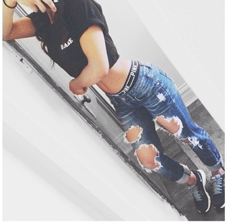 jeans boyfriend jeans demin destroyed boyfriend jeans ripped boyfriend jeans ripped jeans nice dark blue india love bae underwear skirt pink by victorias secret black panties black t-shirt