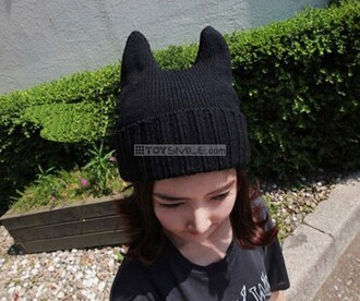hat cats cat hat neko ulzzang crochet black tomboy kawaii hat with ears ears neko hat neko mimi winter outfits knitwear knitted hat evil evil hat