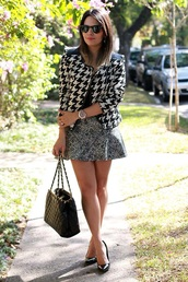 jacket,black,white,fashion,pied de poul