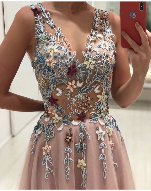 dress nude pink floral pretty light pink aesthetic long pink dress rose rose gold fancy blue flowers please don't let it be so expensive details transparent