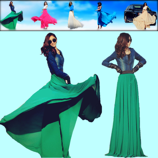 2014 Plus size long skirts womens new fashion summer chiffon maxi skirt elastic high waist casual skirt floor length solid color-inSkirts from Apparel & Accessories on Aliexpress.com